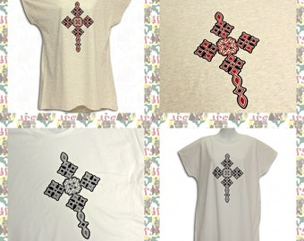 ETHIOPIAN CROSS[drs]Women's Chunic style T-Shirts