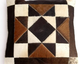 Natural Cowhide Luxurious Patchwork Hairon Cushion/pillow Cover (15''x 15'')a168