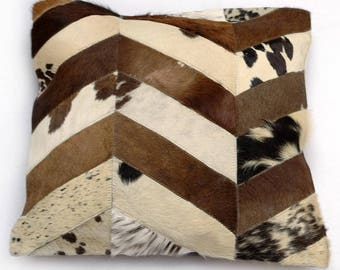 Natural Cowhide Luxurious Patchwork Hairon Cushion/pillow Cover (15''x 15'')a248