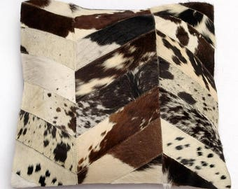 Natural Cowhide Luxurious Patchwork Hairon Cushion/pillow Cover (15''x 15'')a262