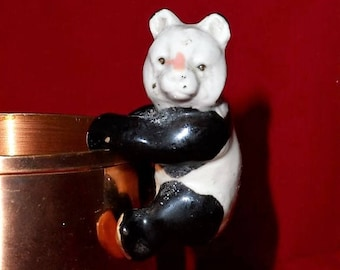 PANDA BEAR Plant Rest-Vase Cling-Pottery-Black & White-Keepsake-Mini Statue-Tiny-Miniature-Curio Collectible-Orphaned Treasure-D020718O