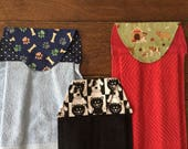 DOG hanging towel, QTY 1, Crazy dog lady, cat hanging towel, dog lover gift, stocking stuffer, labrador retriever, border collie, paw prints