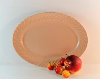 Vintage Franciscan Coronado Coral Beige 11 Inch Oval Serving Platter. Matte Pale Peach, Salmon with Swirled Sides. Mid Century Kitchen.