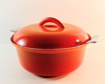Vintage Descoware Flame Orange Enameled Cast Iron Covered Dutch Oven. Made in Belgium. Retro, 1950's Casserole Dish.
