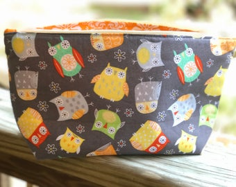 Zipper Diaper Clutch Bag Baby Owl Print Fully Lined Gussetted Bottom