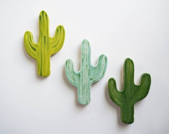 Handmade Ceramic Cacti Magnet - set of 3