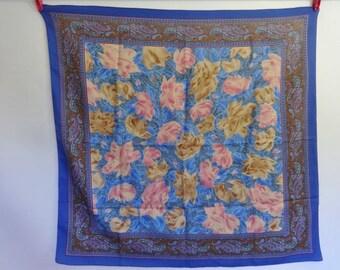 """Vintage Blue Paisley scarf 73cm x 75cm 28.7"""" x 29.5"""""""