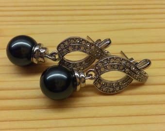 Vintage Black Pearl Round White Rhinestones Stud Earrings Silver Plated