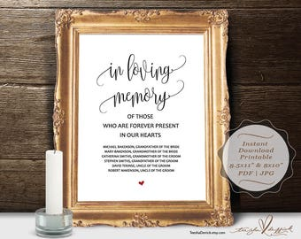 In loving memory instant download printable wedding memorial for In loving memory template free