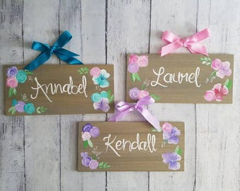Floral Nursery Name Sign/ Wood Nursery Sign/ Wood child's room Sign/ Woodlands Rustic Decor/ Add your Name!