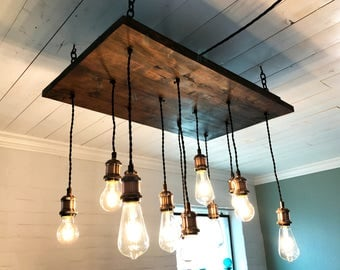 12 Light Alderwood Chandelier (Includes LED Edison bulbs. Dimmable.  FREE SHIPPING)
