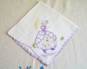 Vintage MADEIRA New Orleans Applique and Embroidery Southern Belle Hanky Lady Handkerchief New Orleans Souvenir Hanky