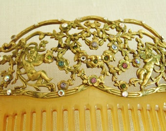 Vintage 40s Stamped Brass Hair Comb with Ornate Cherubs and Flowers Design with Rhinestones Wedding Hair Comb Bridal Hair Comb Retro Comb
