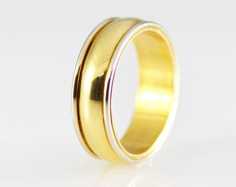 14k Yellow and White Solid Gold Two Tone Band Size 7