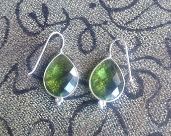 VINTAGE: Tear Drop Peridot Faceted Dangle Earrings-Peridot Earrings-Green Peridot Dangle Earrings-Peridot Drop Dangle Earrings-Green Peridot