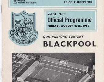 Vintage Football (soccer) Programme - Tottenham Hotspur v Blackpool, 1965/66 season