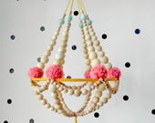 Wooden beads and pompons crown chandelier, hanging decor, nursery mobile, pajaki inspired,