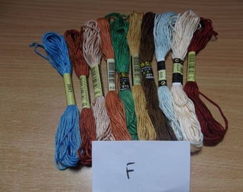Pack F 10 skeins of cotton / polyester, 6 strand, 8 m