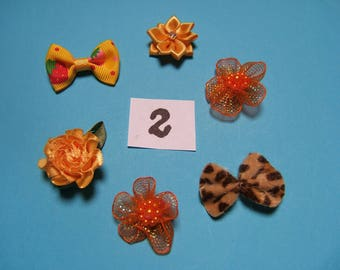 No 2 flowers satin and organza decoration 20 to 30mm x 6 mm diameter