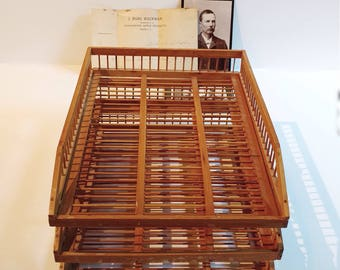 Vintage  Wicker Expandable Office  File Tray Desk Basket