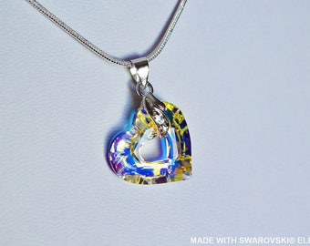 SWAROVSKI Crystal miss you crystal ab heart pendant / silver plated chain