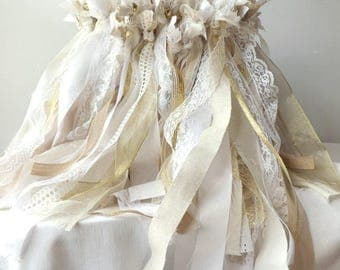 150 Wedding Bell Wands, Triple Streamer Favors, Wedding Send Off, Fabric Lace & Ribbon Wands, Large Event Bulk Party Favors