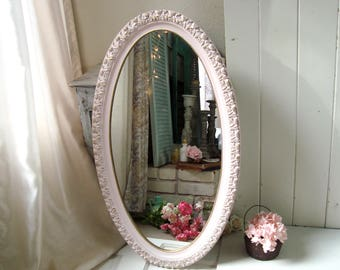 Large Pink Oval Mirror, Pink Nursery Mirror, Vintage Ornate Mirror, Pink  And Gold