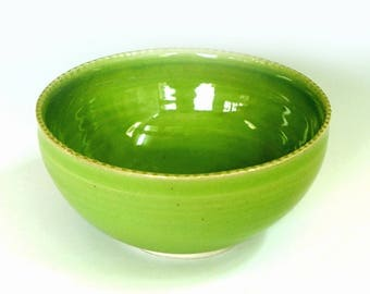 Porcelain bowl, green bowl, ceramic bowl, pottery bowl, handmade