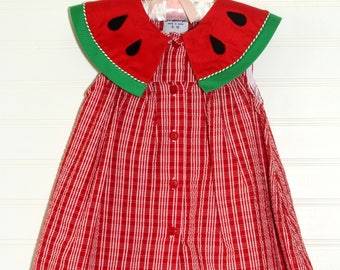Vintage baby dress, Red gingham with watermelon detailing, Samara sz 12 mo
