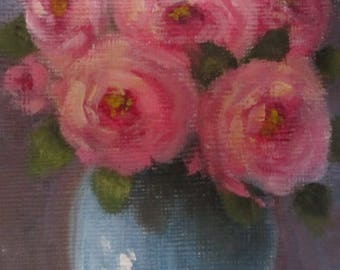 Vase Of Roses, original oil painting, ACEO