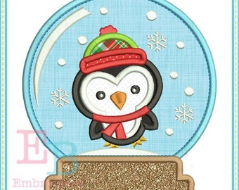 Penguin Snow Globe Applique - This design is to be used on an embroidery machine. Instant Download