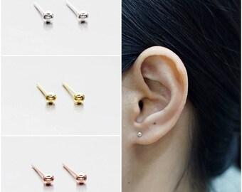 925 Sterling Silver Earrings, Dot Earrings, Ball Earrings, Gold Plated, Rose Gold Plated Earrings,Stud Earrings Size 2.5 mm (Code : EB75Z)