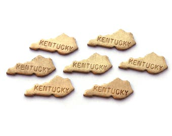6x Brass Engraved Kentucky State Charms NO BAIL - M057-KY