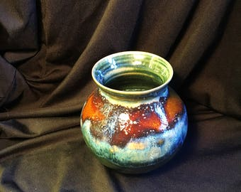 Pottery ceramic stoneware vase textured multiple glaze