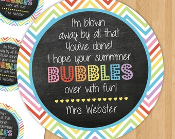 Personalized - Printable - Hope your Summer Bubbles over with Fun Favor Tag - End of School Tags - Bubbles - 2 x 2