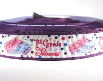 "5 yards of 7/8 inch ""1st grade princess"" grosgrain ribbon"