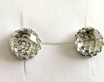 Angeline Quinn Vintage Inspired Green Amethyst and Sterling Silver Stud Earrings