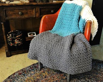 "chunky blanket, large handmade throw, striped sofa blanket 57""x 57"""