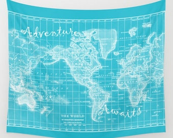 Turquoise World Map Wall Tapestry  - Adventure Awaits travel quote - map, dorm room decor,  beautiful map, travel decor, wall decor, bedroom