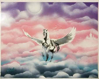 Spray paint art Heaven's Pegasus 16x20 on posterboard
