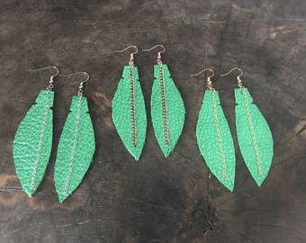 Metallic Green Leather Feather Earrings, Green Metallic Leather Earrings, Boho Earrings, Wife Statement Gift, Free Shipping, Feather Jewelry