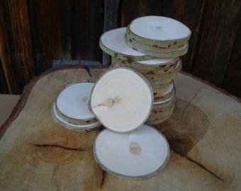 Slices of wood BIRCH, rustic 50 slices for wedding decor disco 2-3