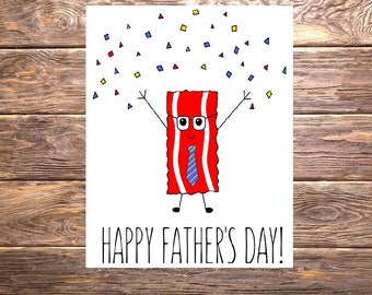 Happy Father's Day Confetti~ Bacon/Crossfit/Paleo/Fitness Card