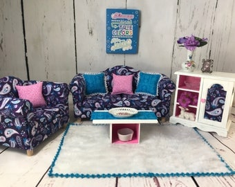"""SOLD! SOLD! 18"""" doll furniture, doll couch, doll sofa, doll living room, doll room. Choose 1 plaque. Ready to ship. Presidents' Day sale."""