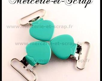 SET of 30 Green Suspender clips 25mm heart shape