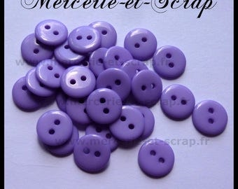 Set of 20 round buttons 2 holes 12.5 mm Parma violet baby scrapbooking cardmaking