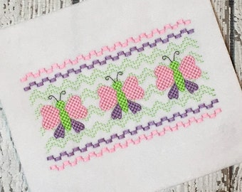 Butterfly Faux Smocking - Butterfly Embroidery Design - Spring Faux Smocking - Spring Embroidery Design - Faux Smocking - Embroidery Design