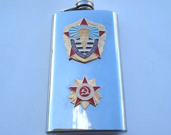 Vintage  Flask with WW2 and Soviet Air Borne badges/ Stainless Steel Flask/USSR / Gift for Him/ Luxury Gift/UNUSED