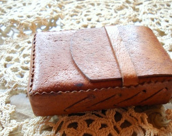 Vintage Brown Leather Cigarette Case/ Woman Man Accessory/ Gift For Smokers /1980s