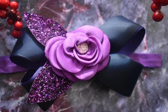 Festive purple and navy Bow - Baby / Toddler / Girls / Kids Headband / Hairband / Hair bow / Barrette / Hairclip /Christmas